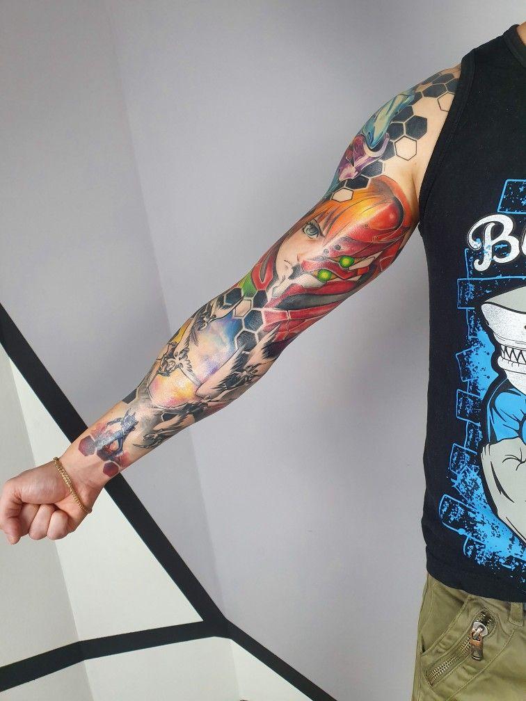 Evangelion tattoo sleeve in 2020 sleeve tattoos