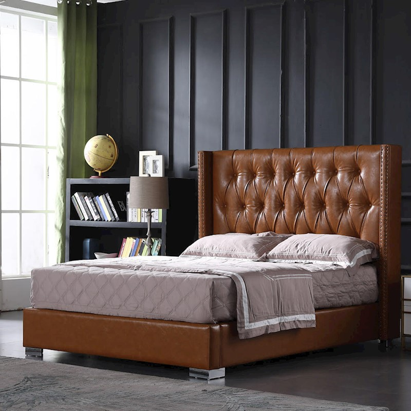 Victor Leather Bed With Wings And Studs Tan In 2020 Leather Bed
