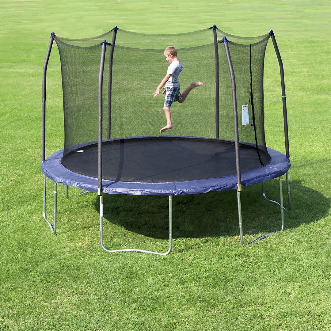 13 Round Trampoline Combo With Navy Spring Pad In 2020 Backyard Trampoline Trampoline Backyard For Kids