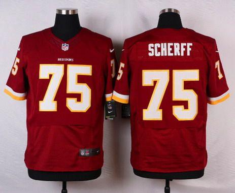 Men s Washington Redskins  75 Brandon Scherff Burgundy Red Team Color NFL  Nike Elite Jersey a4b797fb2