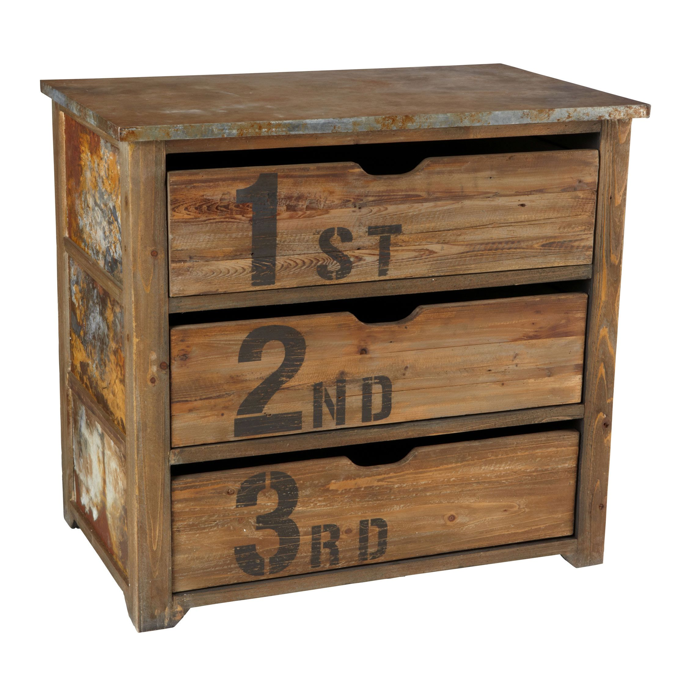 Chunky Rustic Three Drawer Reclaimed Wood Tin Top Dresser ...