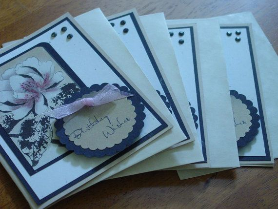 Handmade note cardsHappy Birthday CardsSet of 4greeting by ihunt, $8.25