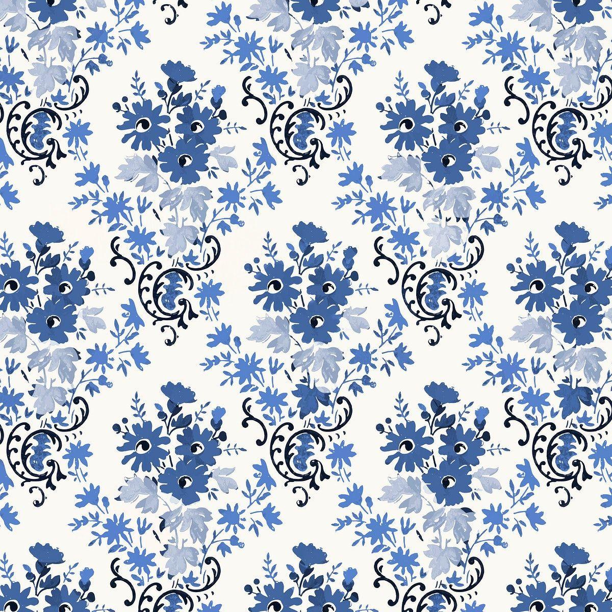 Floral Blue Vintage Style Background Vector Free Image By Rawpixel Com Gade In 2020 Vintage Flower Backgrounds Botanical Illustration Texture Design