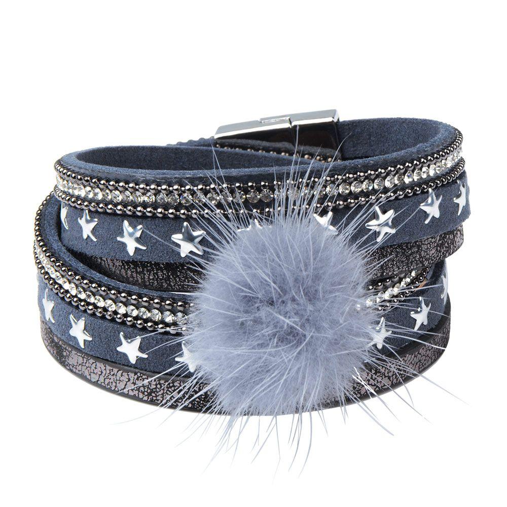 Pu leather bracelets bangles charm mink fur ball magnetic wrap