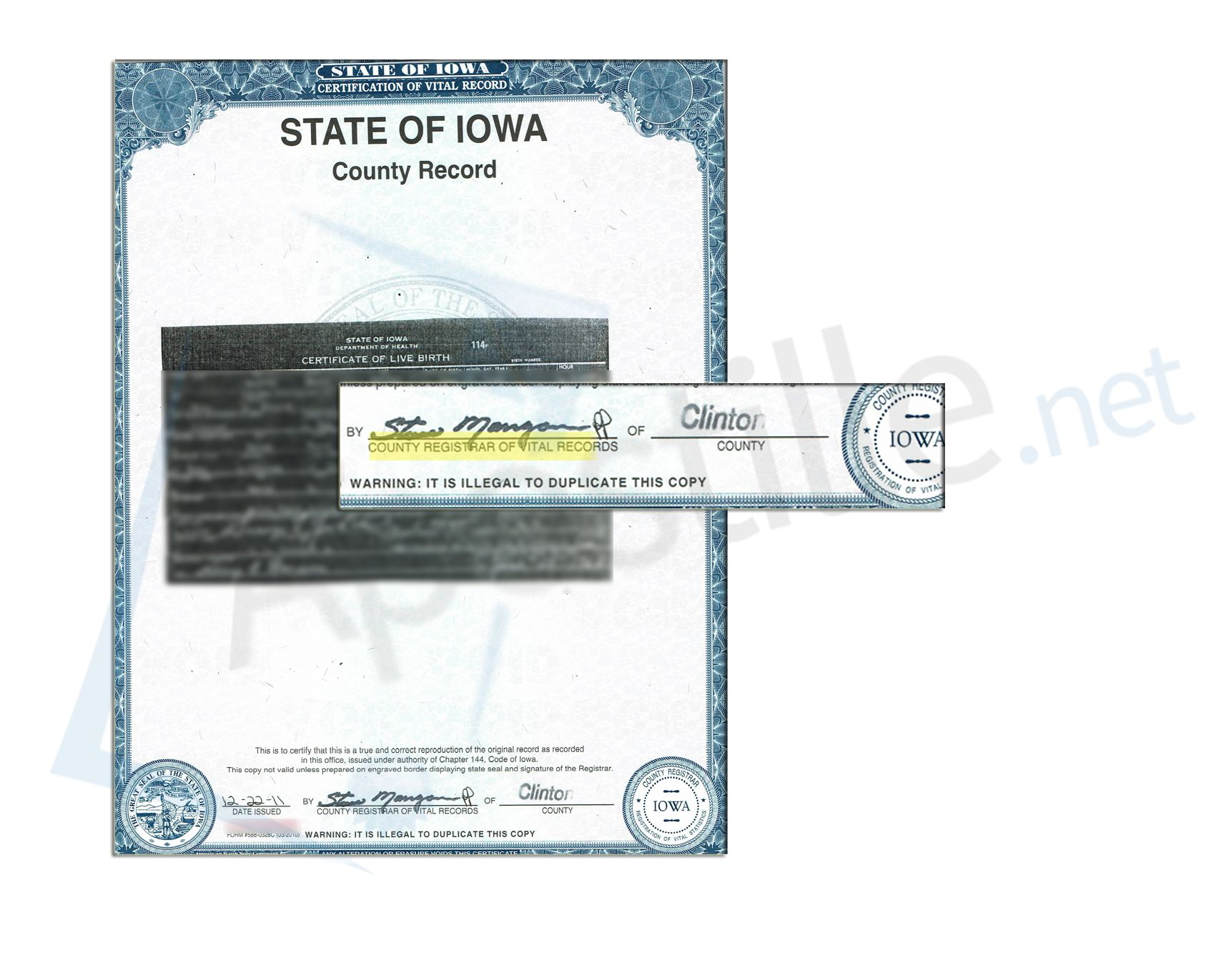 Iowa Birth Certificate Signed By The Clinton County Registrar