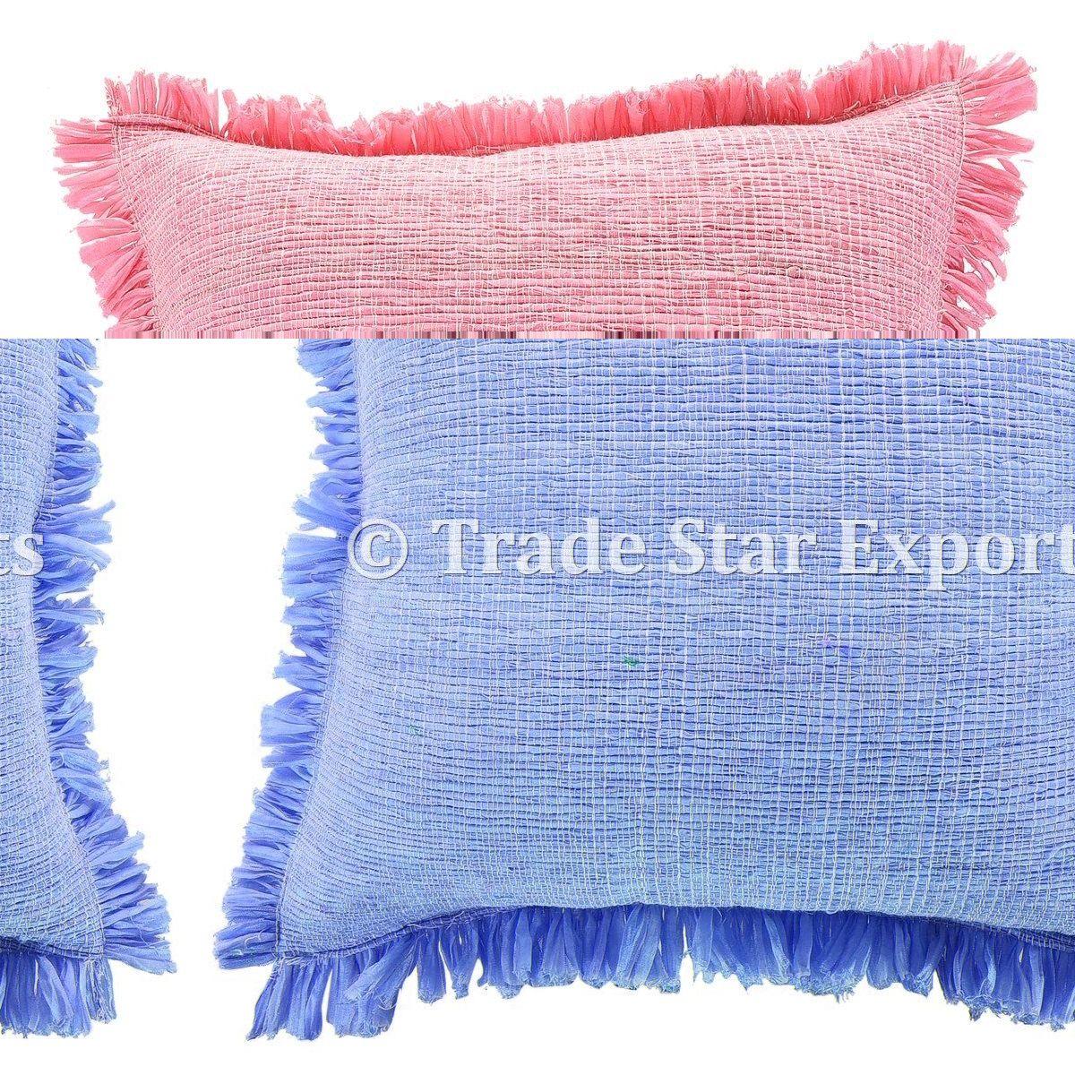 Indian Rug Cushion Cover 18x18 Rag Pillow Sham Vintage Throw