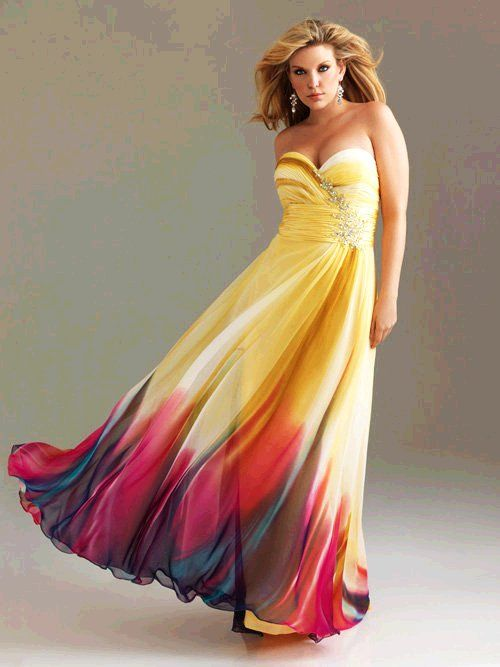 bb39af1076c Yellow   Fuchsia Ombre Chiffon Strapless Sweetheart Empire Waist Prom Dress  - Unique Vintage... not a bad idea for the bridesmaids