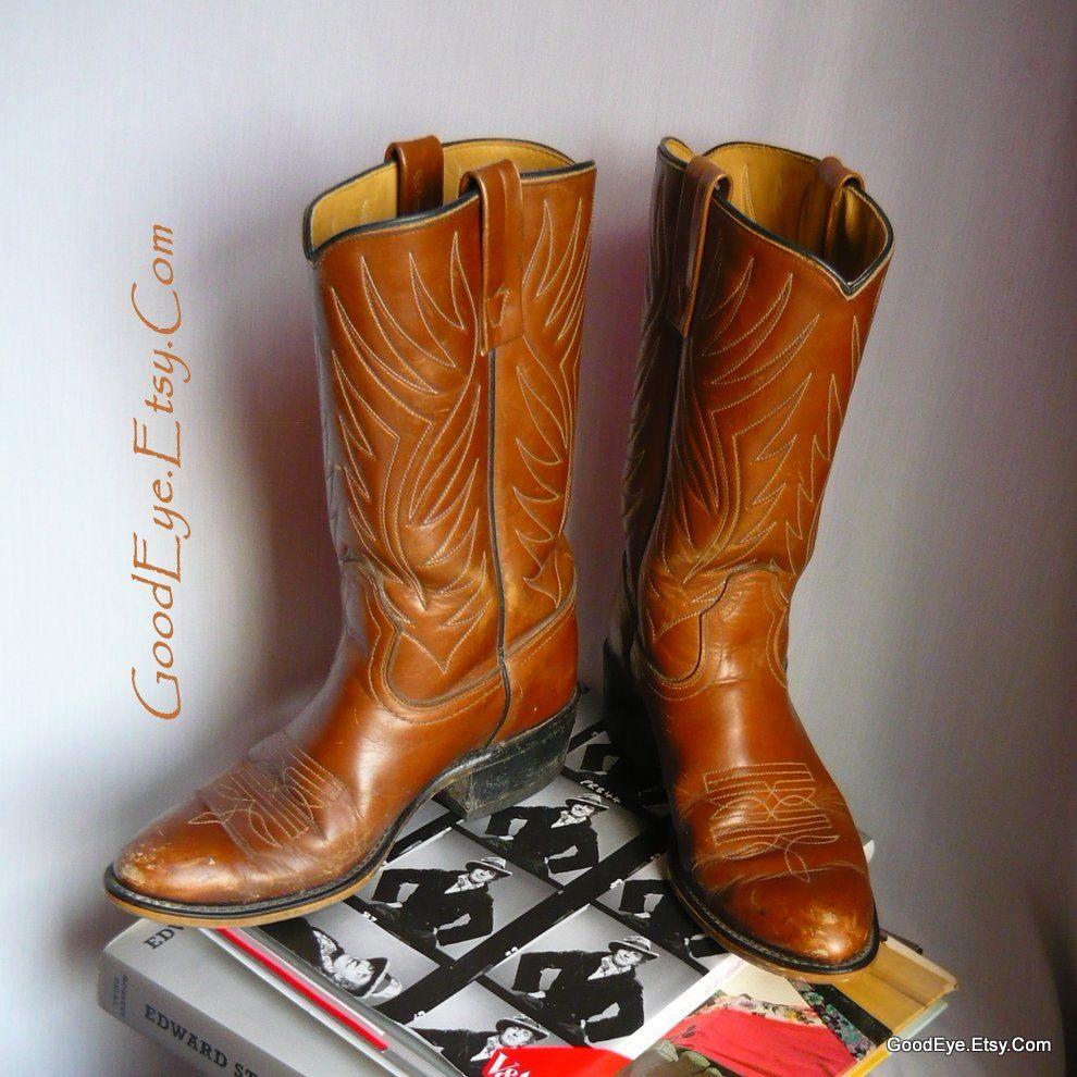 576a3f051b694 vintage ACME Western Boots size 9 M Eu 40 UK 6 .5 Flame Stitched ...