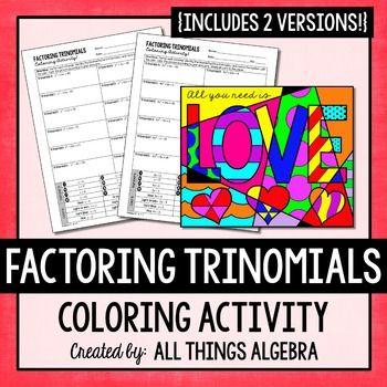 Factoring Trinomials Coloring Activity Factor Trinomials Factoring Trinomials Activity Color Activities