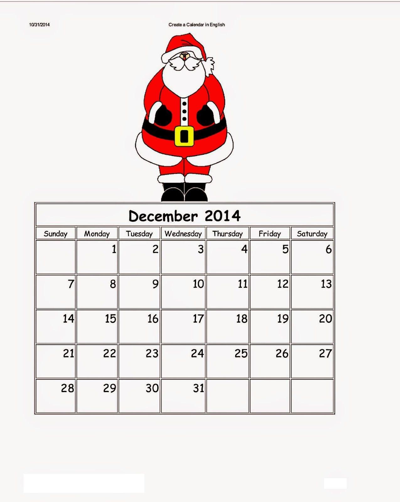 Dltk Kids Calendar December   Activity Shelter   Calendar Template ...