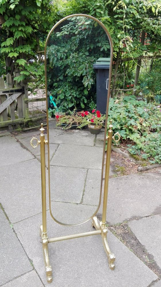 Vintage Ornate Gold Metal Oval Full Length Free Standing