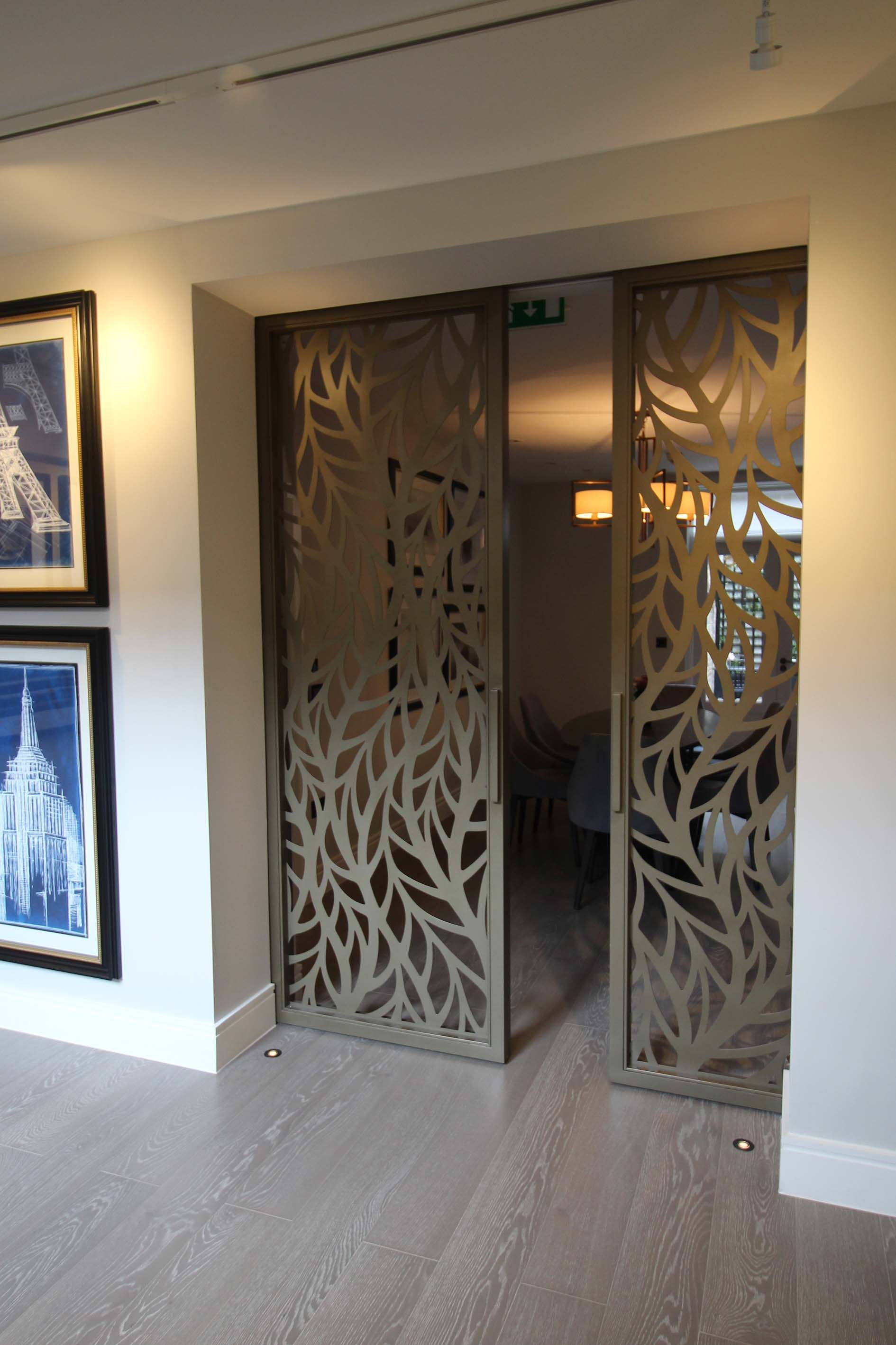 Silian Art Gallery, London. Laser Cut Sliding Doors. Frond