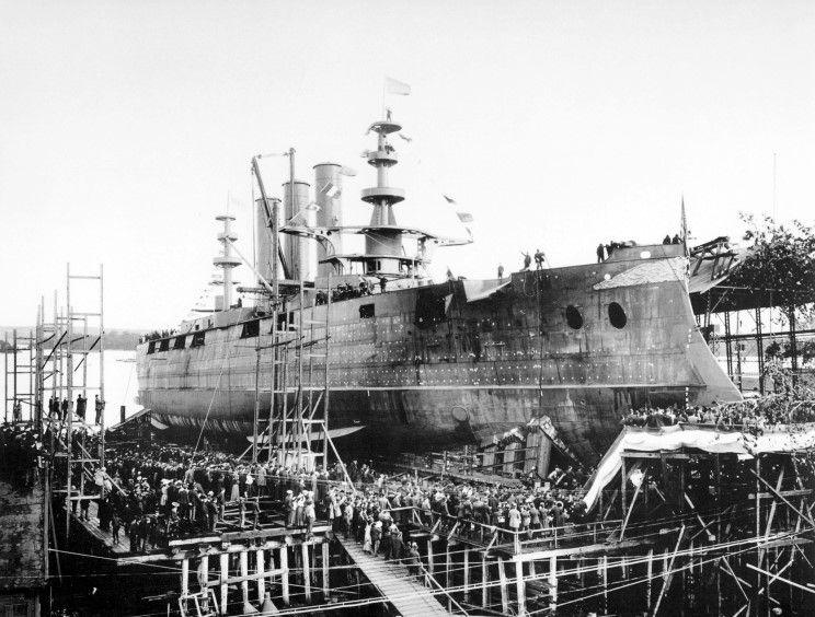 October Launch Of The Georgia Battleship At Bath Iron Works, Bath, Maine.