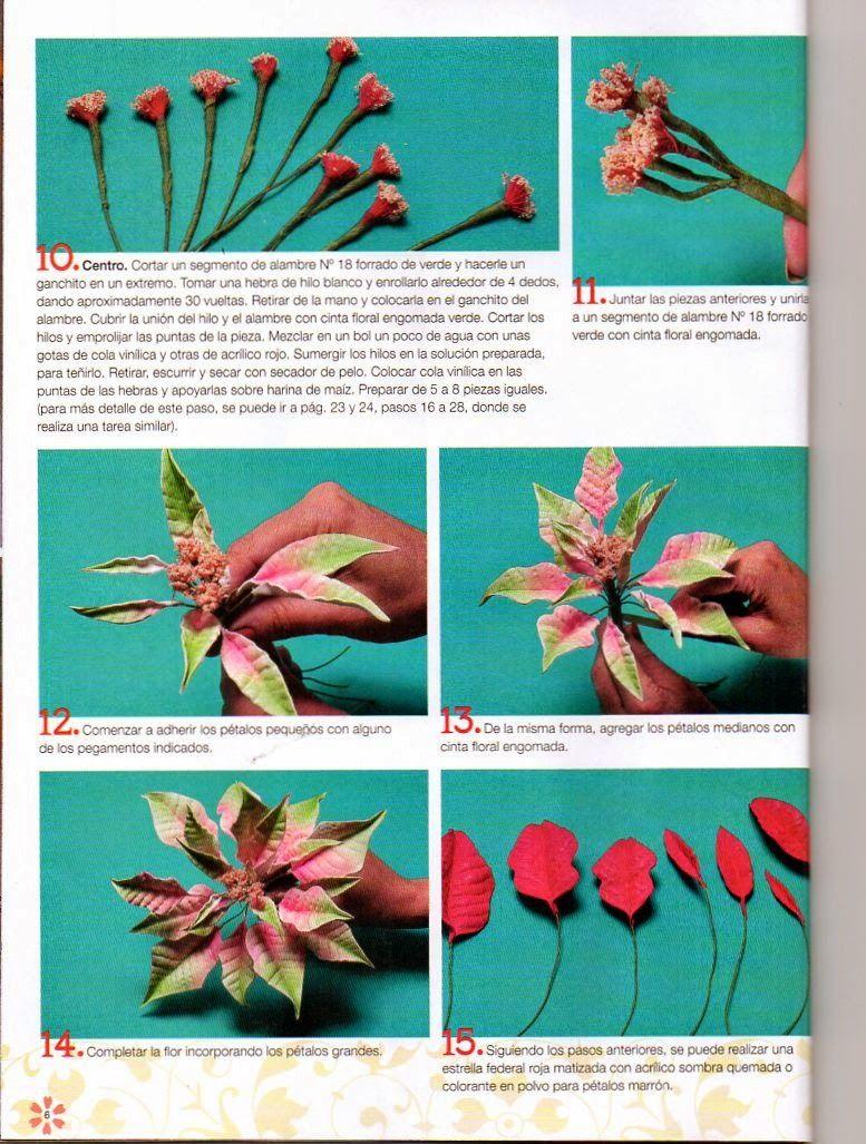 Revistas de manualidades Gratis: Como hacer flores navideñas en ...