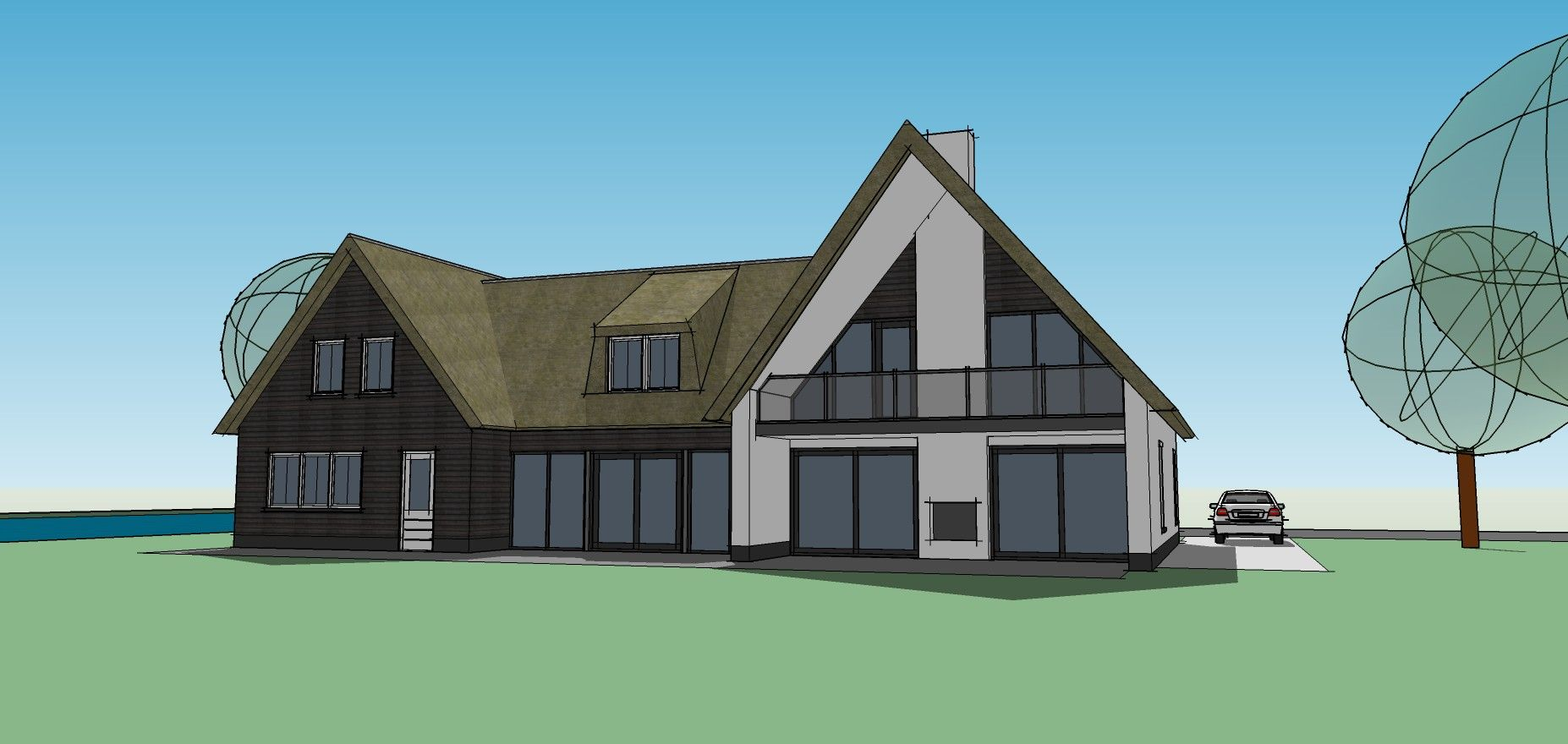 Modern ontwerp met veel ramen en een rieten kap door gebruik van verschillende materialen - Entree eigentijds huis ...