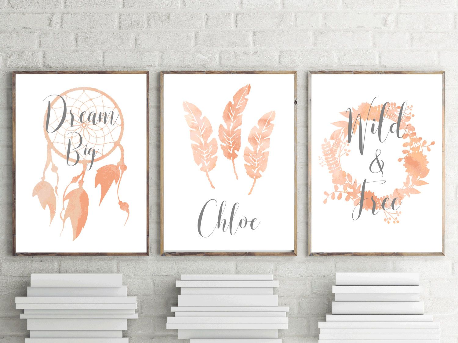 Set Of 3 Nursery Prints S Peach Boho Watercolor Bedroom Wall Art Personalised