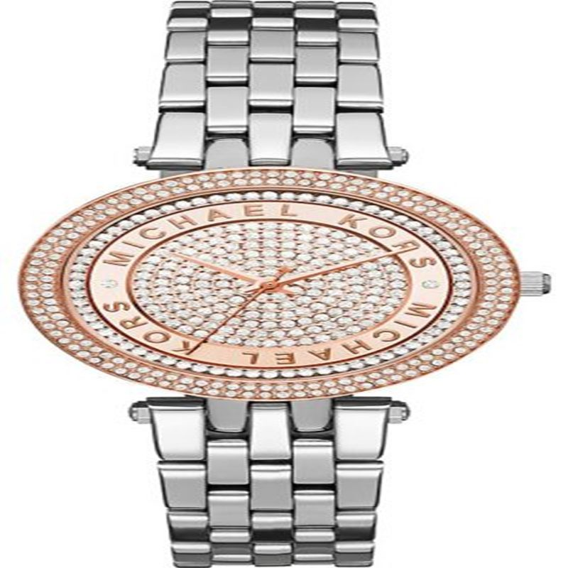 711de163a444 Michael Kors Mini Darci Women s Rose Gold Pave Dial Stainless Steel Band  Watch – MK3446