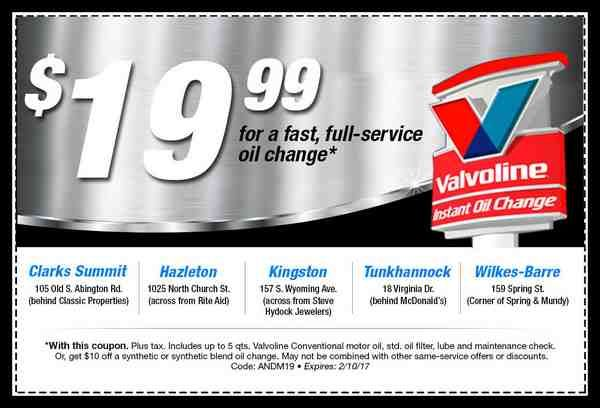 Valvoline 19 99 Oil Change Coupon 1 My Nup Oil Change