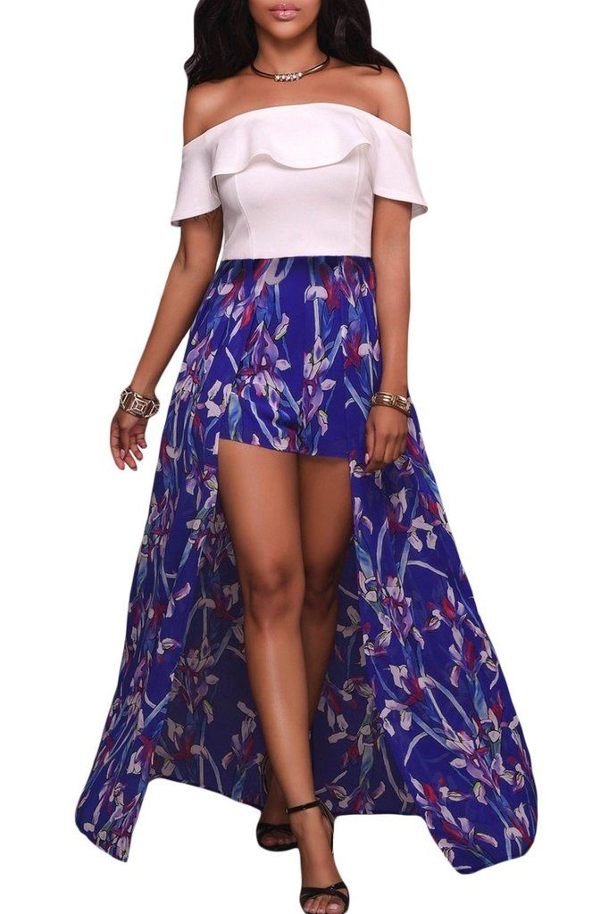 079dc13caaf5 White Ruffle Off Shoulder and Blue Floral Maxi Romper MB64279-1 –  ModeShe.com