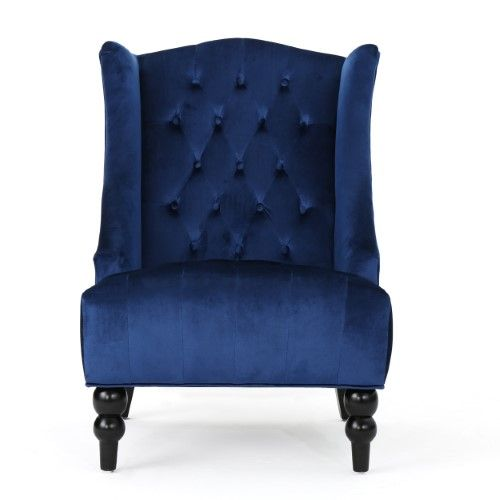 Best Talisa High Back New Velvet Club Chair Navy Blue Velvet 400 x 300