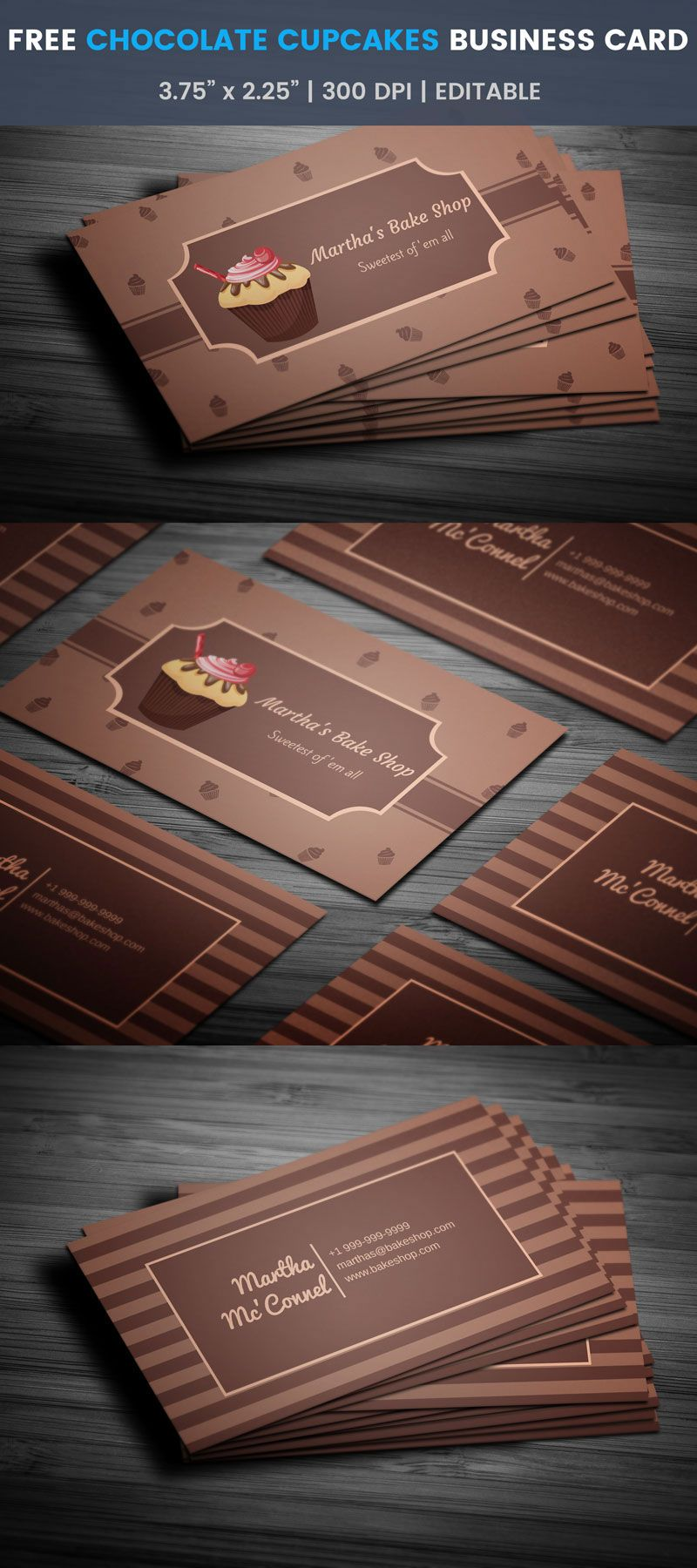 Chocolate Cupcakes Bakery Business Card Full Preview Free Business Card Templates Cupcake Business Cards Free Business Cards