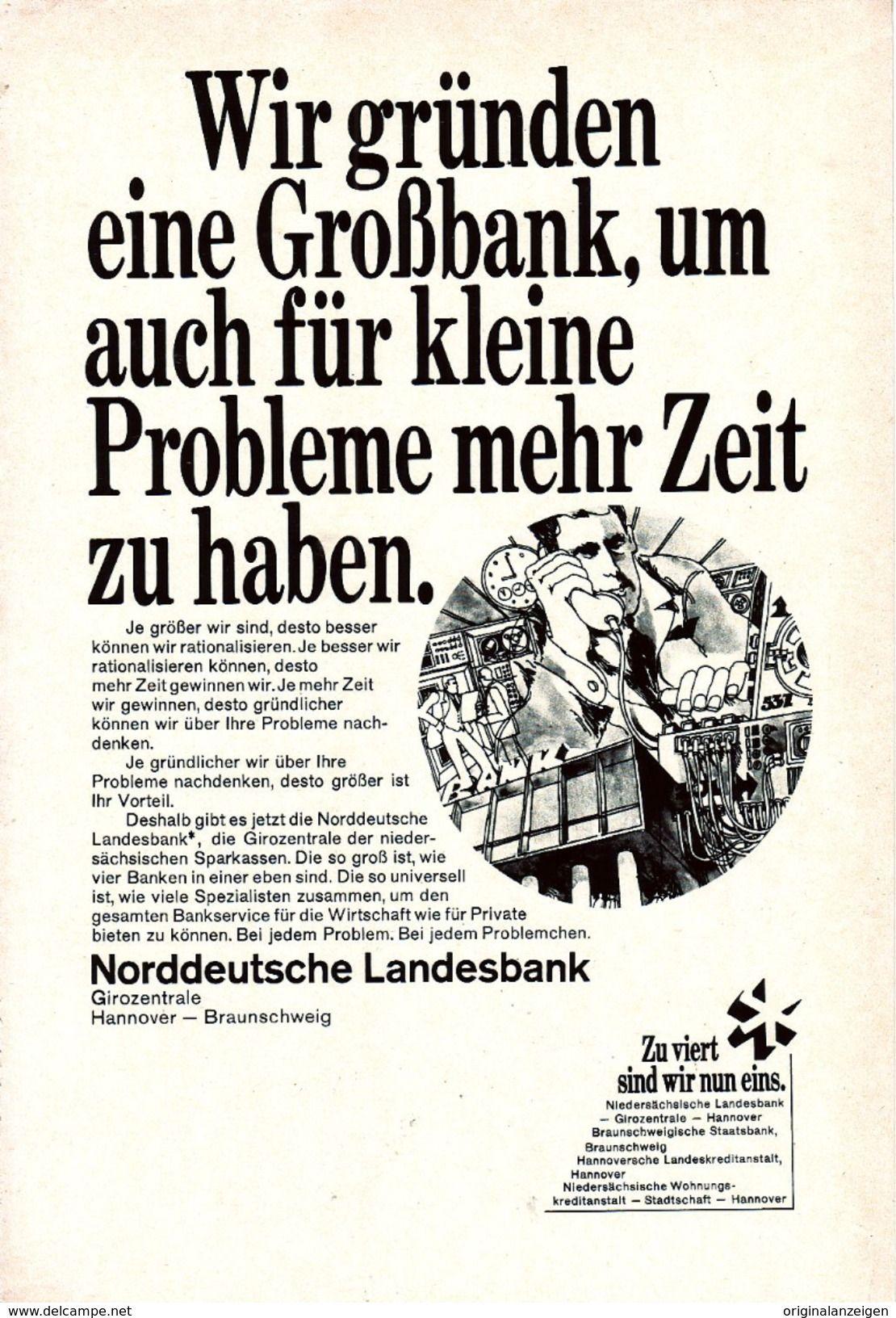 OriginalWerbung/ Anzeige 1969 NORDDEUTSCHE LANDESBANK