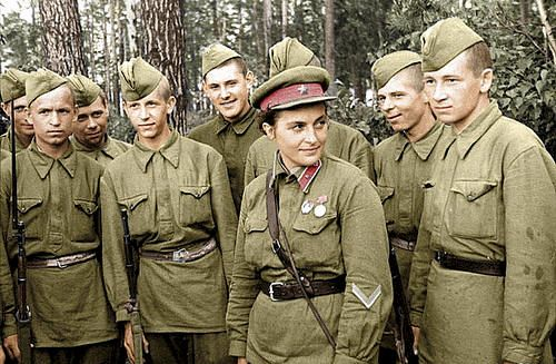 "Lyudmila Pavlichenko, Soviet sniper, The Hero of The Soviet Union ""Gentlemen, I'm 25 years old and I have killed 309 fascist occupants by now. Don't you think, gentlemen, that you have been hiding behind my back for too long?!"""