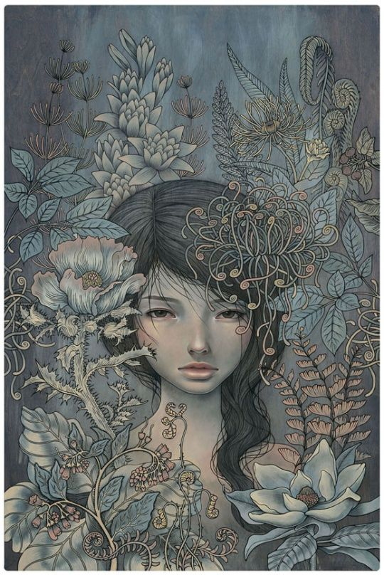 The themes in Audrey Kawasaki's work are contradictions within themselves. Her work is both innocent and erotic. Each subject is attractive yet disturbing. Audrey's precise technical style is at once influenced by both manga comics and Art Nouveau. Her sharp graphic imagery is combined with the natural grain of the wood panels she paints on, bringing an unexpected warmth to enigmatic subject matter.