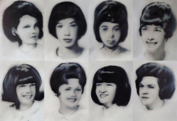 Gerhard Richter, Acht Lernschwestern (Eight Student Nurses) 1966, 8 parts, each panel: 95 cm x 70 cm, Oil on canvas
