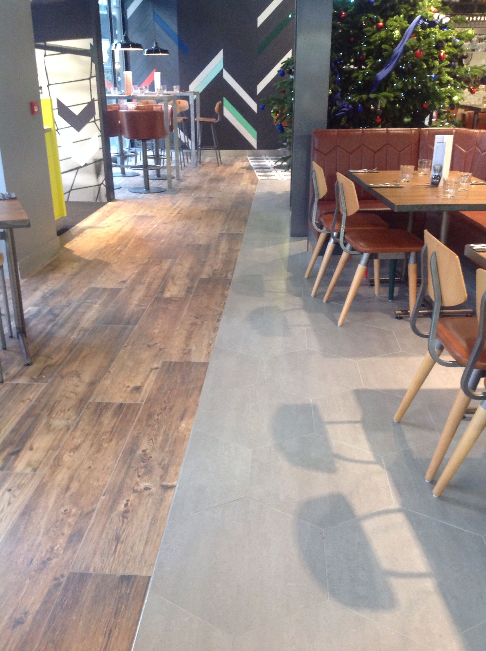 Concept hexagon and larix wood tiles for restaurant project