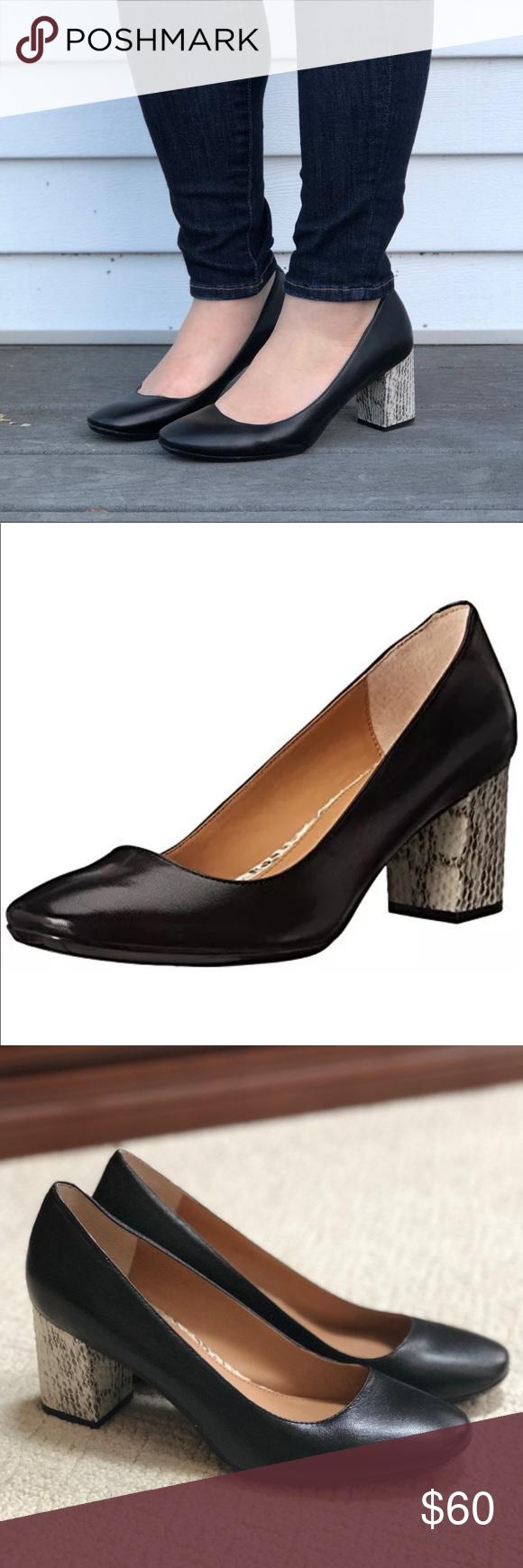 a63c05147b ✨SALE✨ Calvin Klein Cirilla Snake Heel Pump Calvin Klein Black Leather Pump  with Snakeskin Block Heel NWOT Cirilla style, slip-on, muted snake block  heel, ...