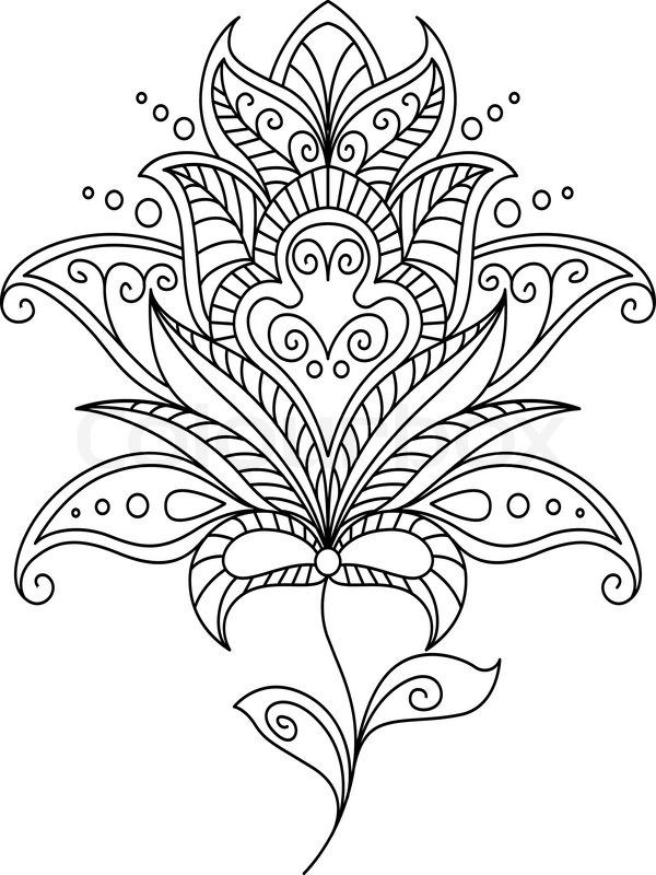 Stock vector of 'Intricate dainty black and white floral