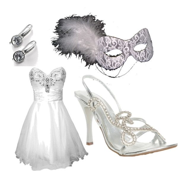 White Masquerade Prom By Saxomarphone On Polyvore Featuring PacificPlex DKNY