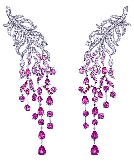 Chanel Diamond Cluster Earrings Falling Gems Chanel Jewelry Sapphire Earrings Pink Sapphire