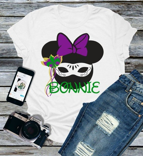 Mardi Gras Minnie Mouse Personalized Tee Disney World Vacation Trip Birthday Party Shirt Family Epcot Magic Girl NOLA Mask Orleans Tuesday
