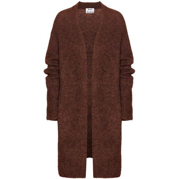 Acne Studios Raya Wool and Mohair-Blend Cardigan (€365) ❤ liked on Polyvore featuring tops, cardigans, jackets, outerwear, coats, brown, acne studios, wool cardigan, brown cardigan y cardigan top