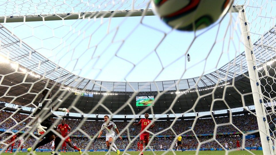 Mario Goetze Of Germany Scores His Team S First Goal Mario Gotze Fifa World Cup World Cup 2014
