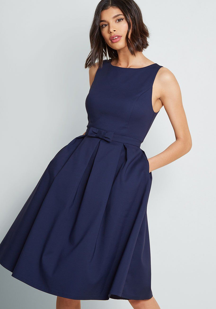 Polish Aplenty Fit and Flare Dress - Spreading your style over a series of fancy occasions is simple with this navy A-line dress - a ModCloth exclusive! Its vintage-inspired vibe is perpetuated by a high neckline, padded bust, princess seams, and bow-topped waistline. Add in skirt pleats and secret pockets, and, boom, you're the image of party-ready brilliance!