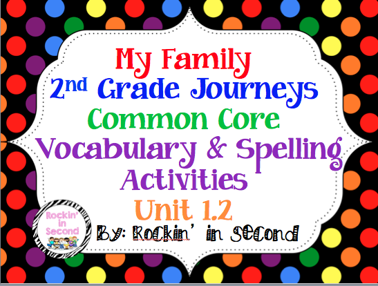 common core journey 39 s my family unit 1 2 spelling vocabulary activities rainbow writing. Black Bedroom Furniture Sets. Home Design Ideas
