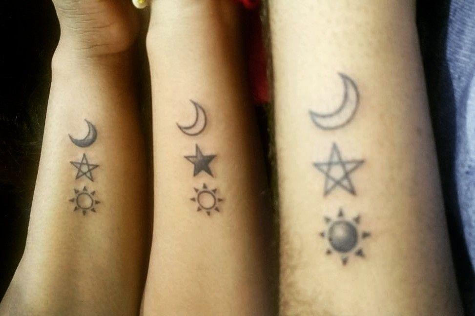 Siblings Tattoo Sun Moon Star Moon Star Tattoo Matching Tattoos Star Tattoos