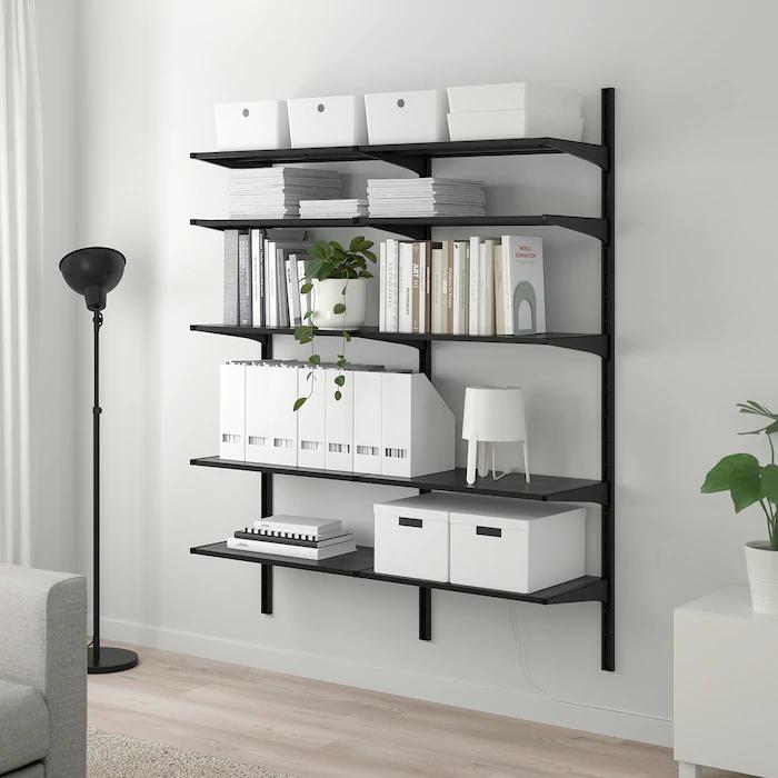 ALGOT 2 sezioniripiani nero 127x41x180 cm nel 2020   Ikea