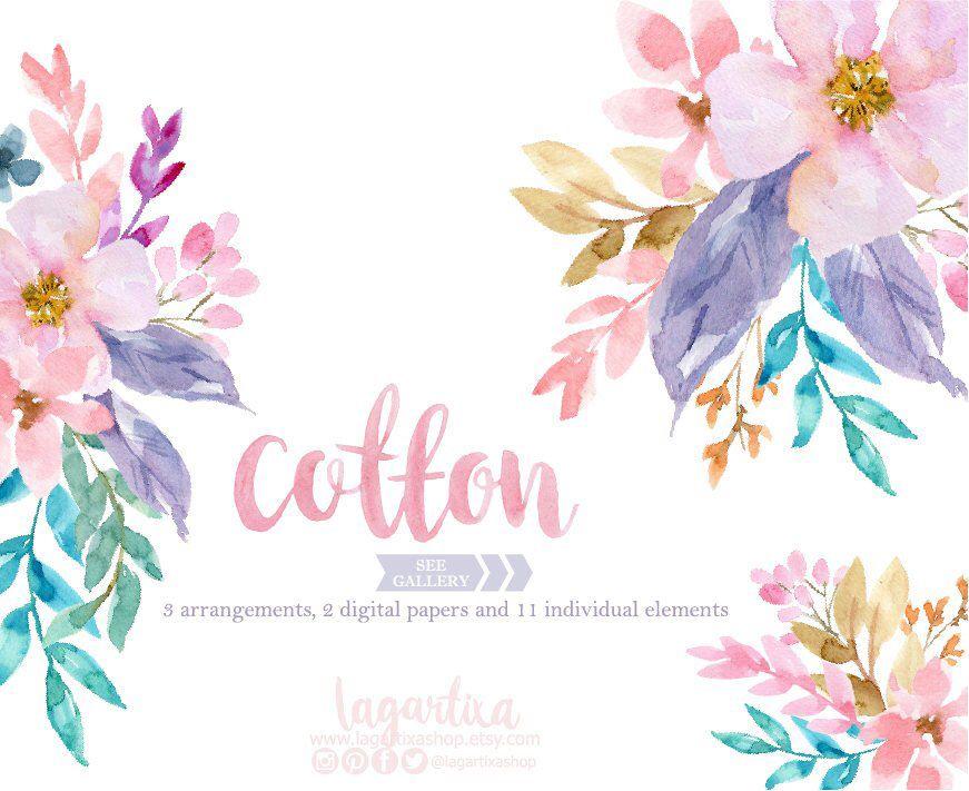 En Acuarela Flores Azules Y Rosas Hojas Sobre Real Papel De Etsy Floral Watercolor Watercolor Flowers Clip Art