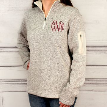 Monogrammed Charles River Heathered Fleece Quarter Zip Pullover, Christmas Gifts for Her E1