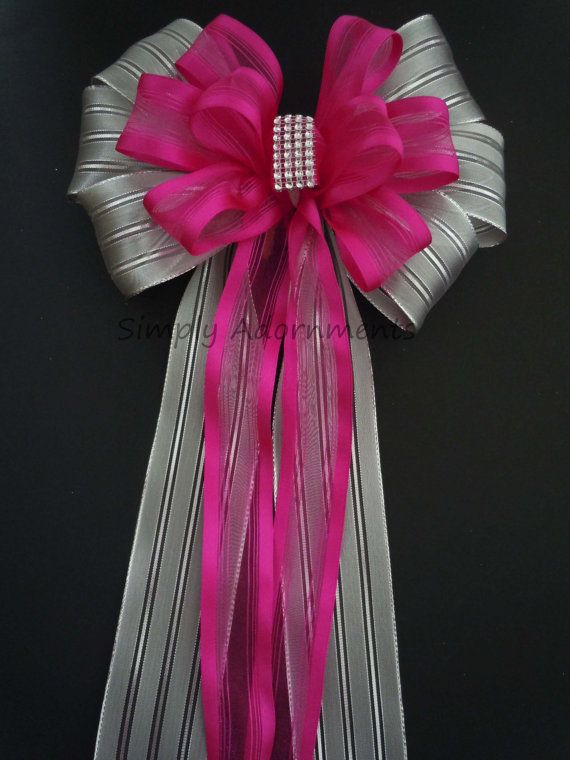 Hot Pink Silver Wedding Pew Bow Silver Bling By Simplyadornmentsss