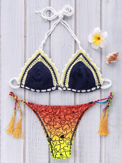 Crocheted Heart Print Bikini Set | Psychedelic Monk