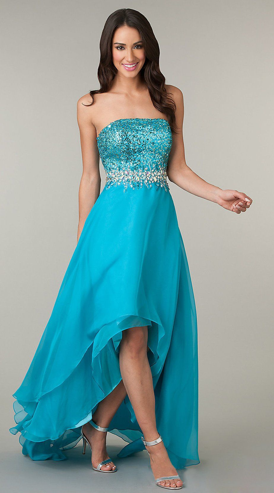 Beautiful High Low Teal Formal Prom Dress Strapless Sequins ...