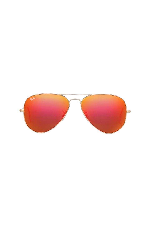 0a70a0cf74a Ray-Ban Large Metal Flash Lense Aviator in Matte Gold   Orange Flash ...