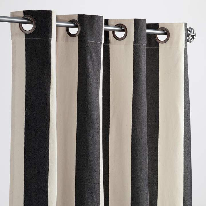 Cost Plus World Market Black And White Stripe Grommet Top Outdoor Curtains Set Of 2