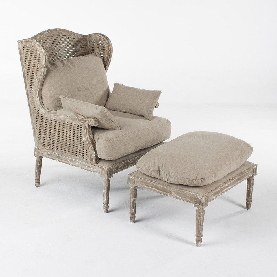 Remarkable Thomas Chair W Ottoman Cane Back Accent Chairs Seating Inzonedesignstudio Interior Chair Design Inzonedesignstudiocom