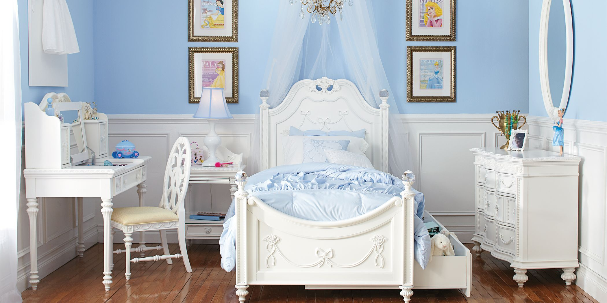 disney princess white 5 pc twin poster bedroom  bedroom